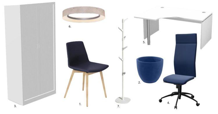 Planche d'ambiance pour un espace bureau dans les tonalités bleue et blanche par Global Concept