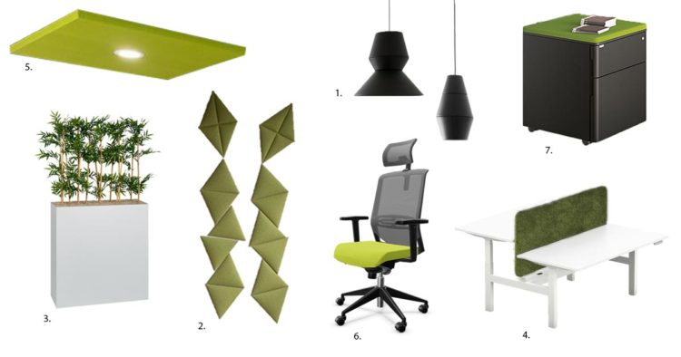 Planche d'ambiance de l'espace open-space dans les tonalités verte et noire par Global Concept