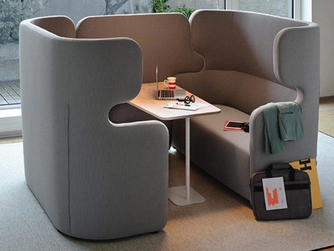Salle de réunion ouverte avec solution acoustique par Global Concept