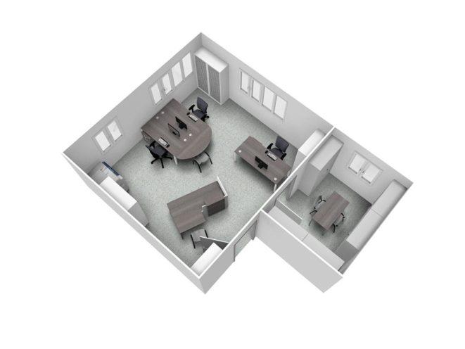 Maquette 3D aménagement secteur industriel de bureau par Global Concept