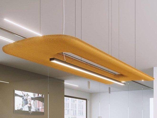 Lampe acoustique pour gagne en luminosité et en acoustique et en bien-être de vos collaborateurs par Global Concept