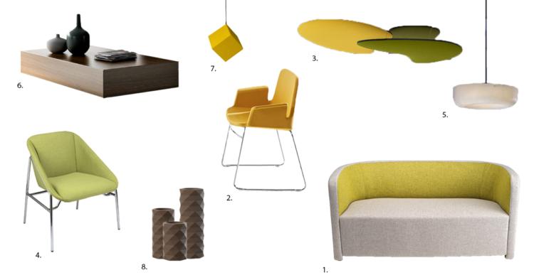 Planche d'ambiance verte et jaune avec des touches de marron par Global Concept