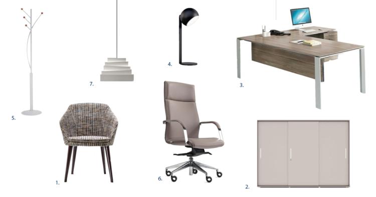 Planche d'ambiance espace bureau individuel par Global Concept
